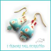 """Orecchini  ceramica """" Coniglietti Azzurro bianco""""  Pasqua idea regalo bambina kawaii ragazza donna clip"""