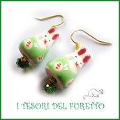 """Orecchini  ceramica """" Conigliett Verde bianco""""  Pasqua idea regalo bambina kawaii ragazza donna clip"""