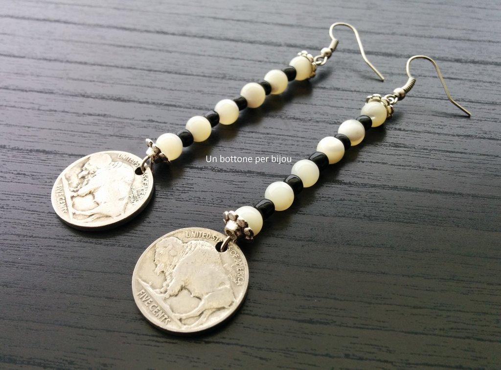 """Orecchini con monete autentiche ,fuori corso,degli Stati Uniti con il famoso """"Buffalo"""" o """"Indian Head"""""""
