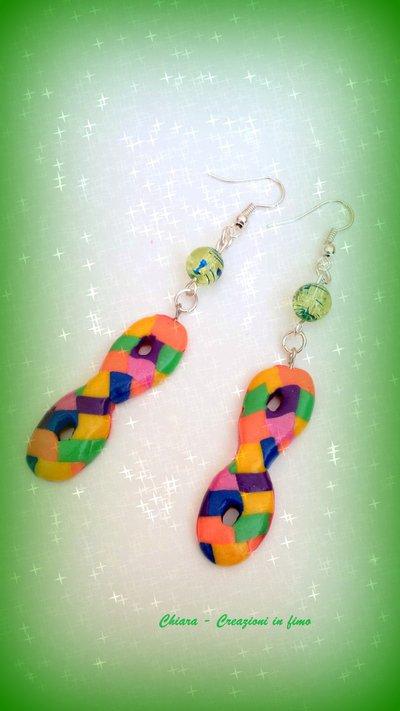 Orecchini in fimo maschere di carnevale arlecchino multicolore idee regalo originali