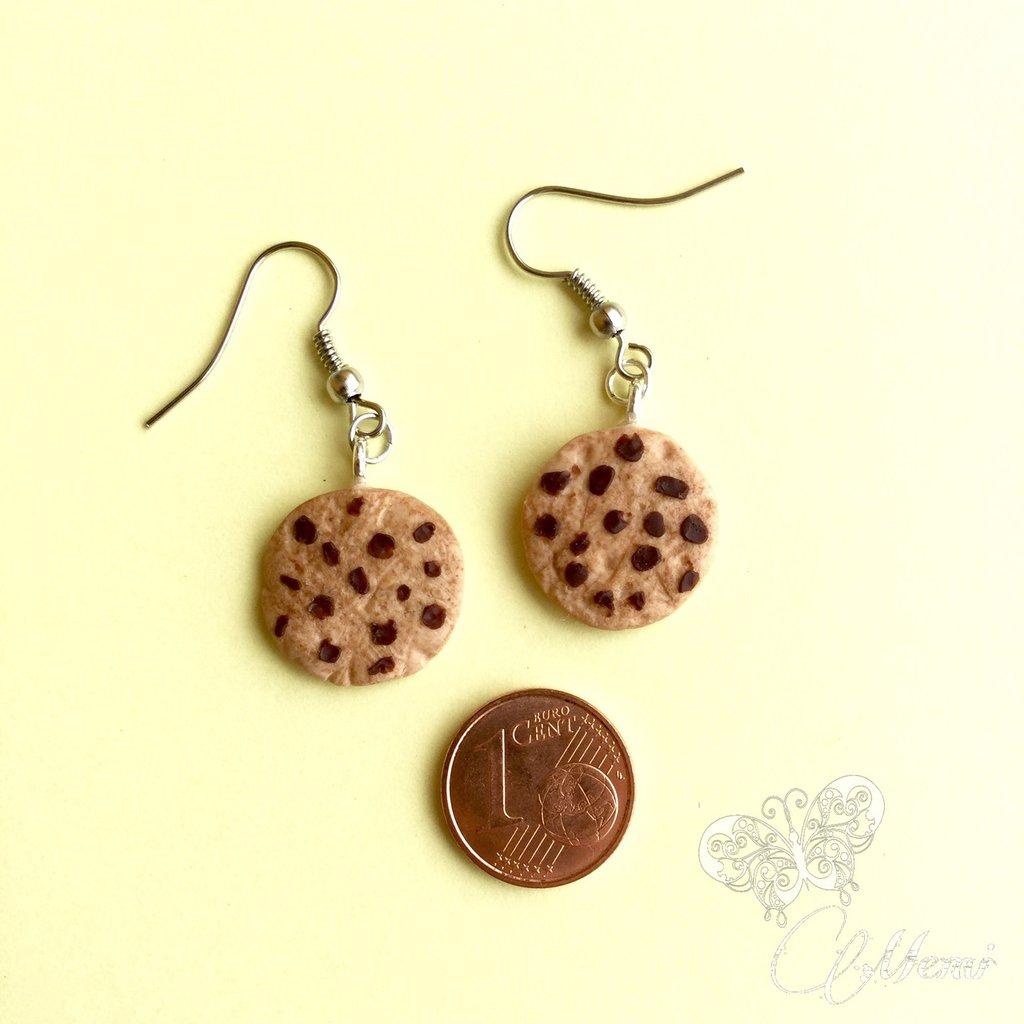 Orecchini mini biscotti cookies con gocce di cioccolato - handmade earrings -