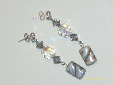 Orecchini sfere crystal ab swarovski pietra vetro