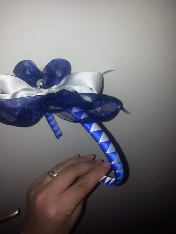 Cerchietto con farfalla blu e bianco