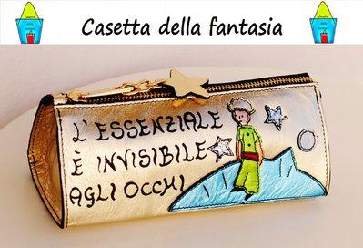 """Astuccio Portapenne """"Il piccolo Principe"""" Vera Pelle. Base Oro"""