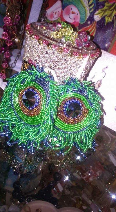 Orecchini con miyuchi verde e azzurro pavone