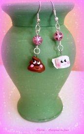 Orecchini in fimo handmade kawaii Cacca e Carta miniature idee regalo originali