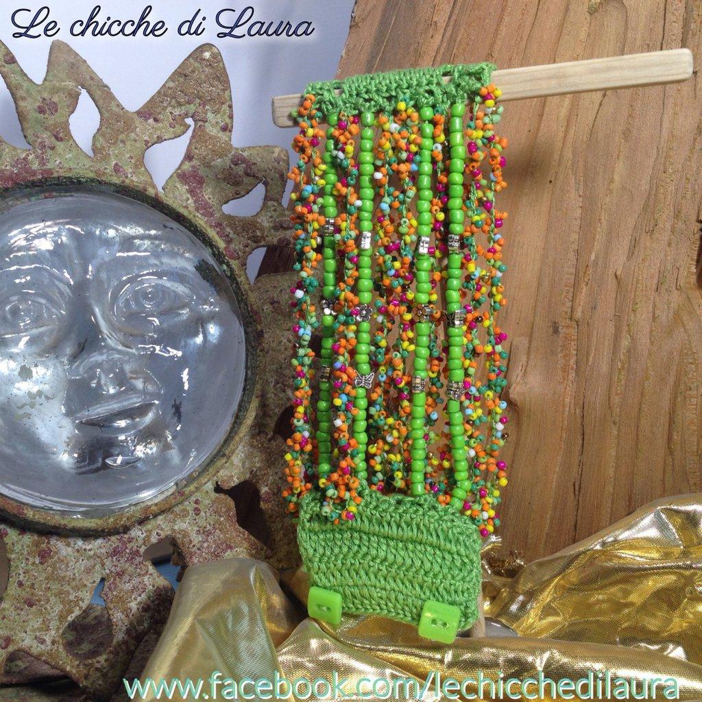 "Bracciale crochet e perline ""Brazil"""