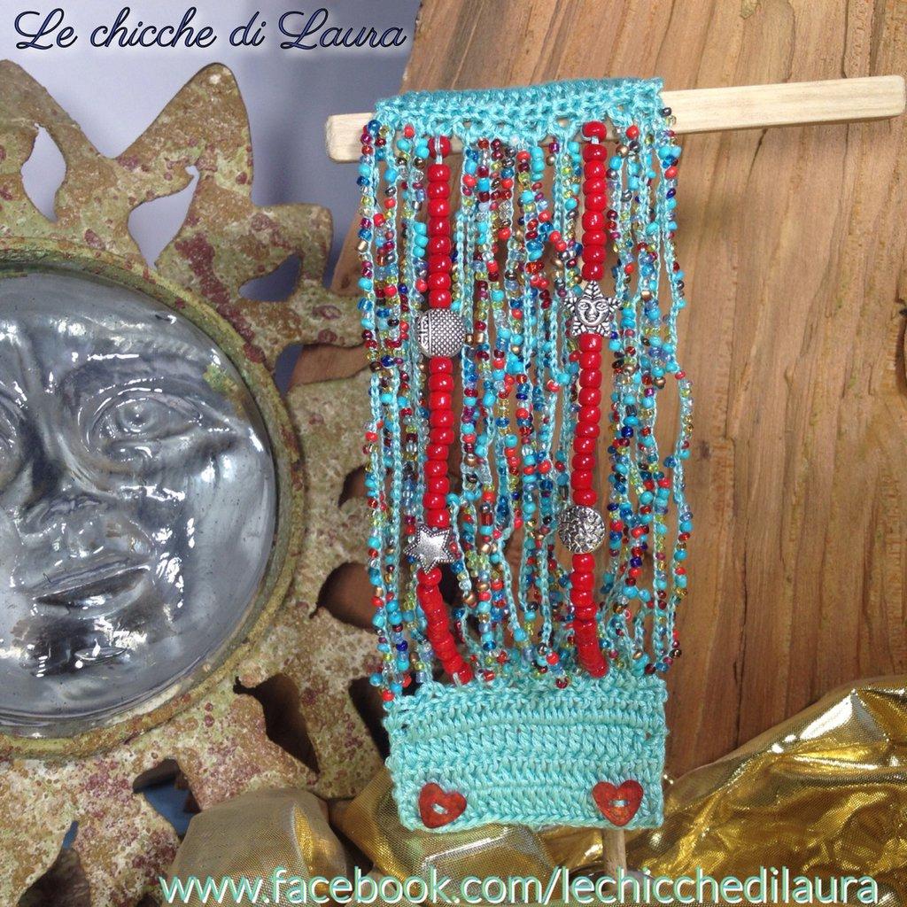 """Bracciale crochet e perline """"Celeste e Corallo"""""""