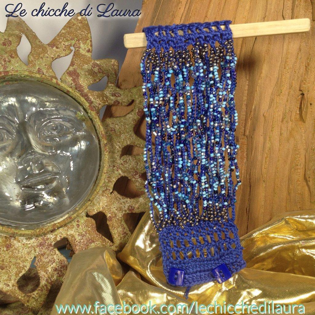 "Bracciale crochet e perline ""Cristal Blue"""