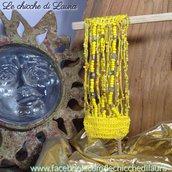 """Bracciale crochet e perline """"Giallo Oro"""""""