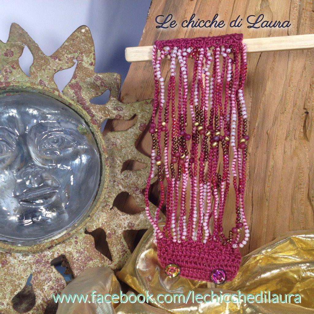 """Bracciale crochet e perline """"Rosa oro"""""""