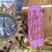 """Bracciale crochet e perline """"Sweet Pink """""""