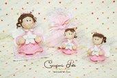 bomboniera angelo bimba rosa battesimo nascita comunione cresima