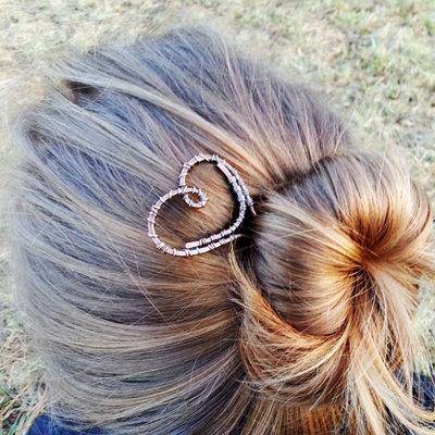 Forcina per capelli in rame a forma di cuore, fermaglio capelli, forcina chignon, fermaglio chignon.