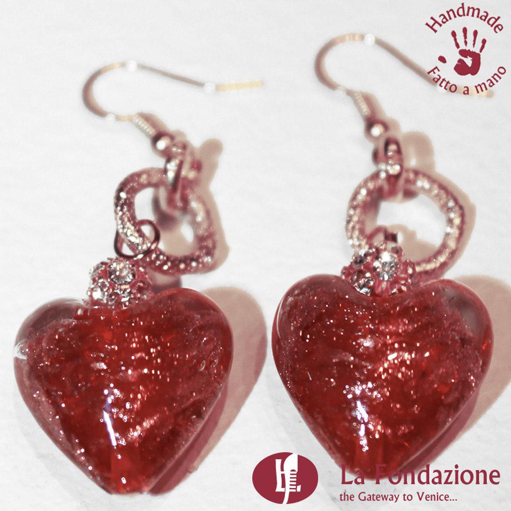 Orecchini Valentino pendenti in vetro di Murano colore Rosso Fatto a mano