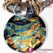 Collana Silver Dicroico in vetro di Murano fatto a mano