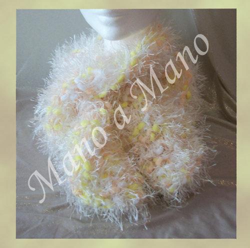 Sciarpa pelouche - giallo bianco rosa