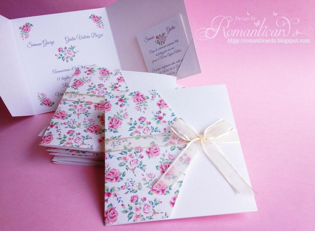Partecipazione Stile Vintage a roseline color rosa Modello Ischia by Romanticards