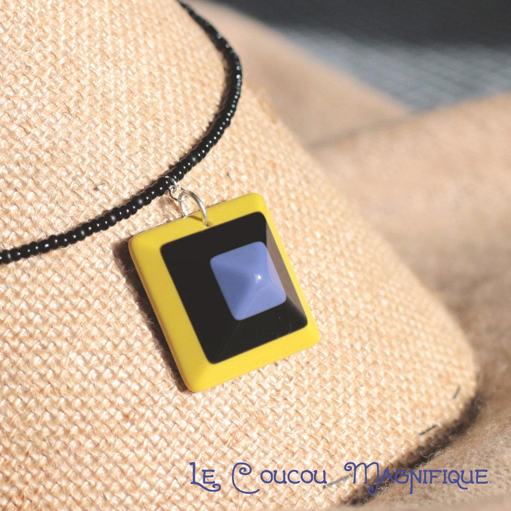 Girocollo con ciondolo giallo e viola in stile anni Settanta - C.2.2016