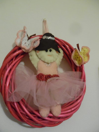 fiocco nascita ghirlanda ballerina rosa
