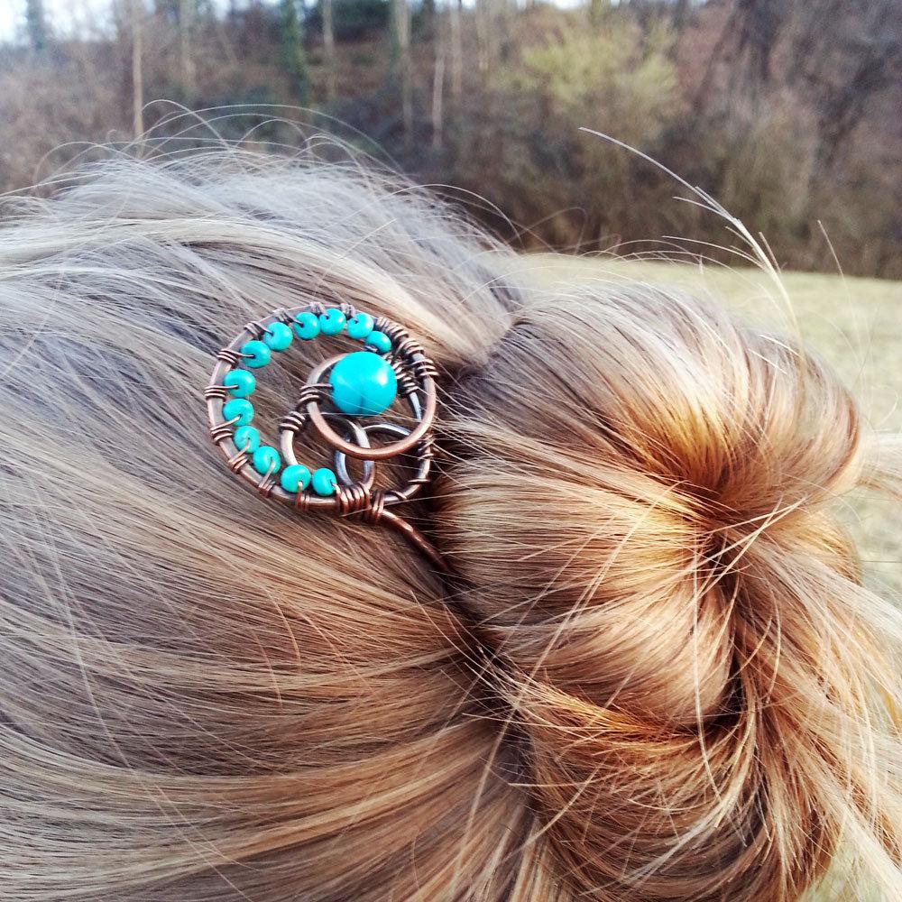Forcina chignon, fermaglio per capelli, capelli lunghi, forcella capelli, forcina in rame, spilla chignon.