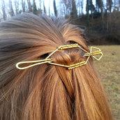 Spilla per capelli, spilla in ottone, fermaglio capelli, fermasciarpe, accessorio foulard, accesorio capelli, accessori donna, per capelli.