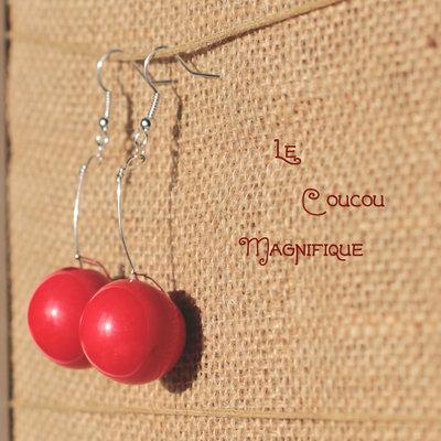 Orecchini lunghi con bottone vintage rosso - O.59.2015