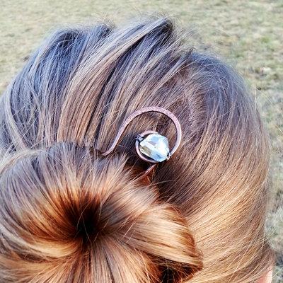 Forcina chignon, fermaglio per capelli, capelli lunghi, forcella capelli, forcina in rame.