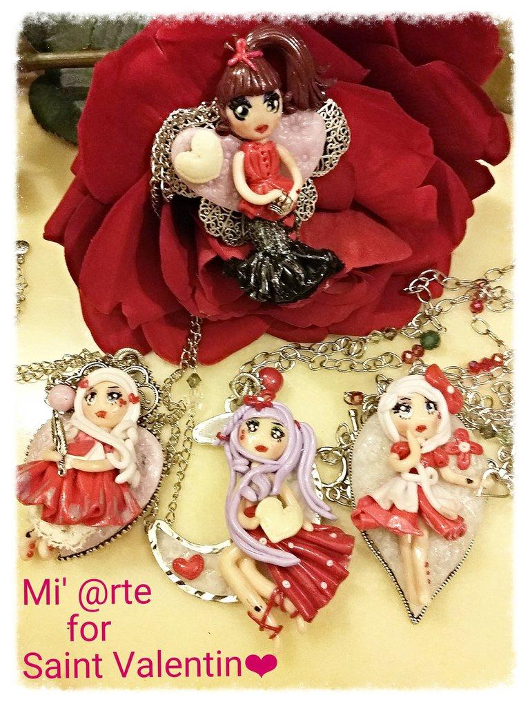 collana con doll in pasta polimerica San Valentino
