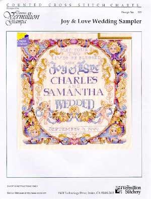 Joy And Love Wedding Sampler - Schema Punto Croce Matrimoniale - Donna Vermillion