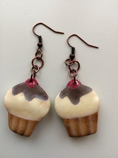 Orecchini Cupcake cioccolato e crema