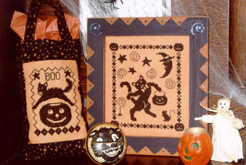 Black Cats' Halloween - Schema Punto Croce Gatti Neri - Waxing Moon Designs