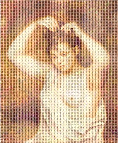 Renoir - Woman Arranging Hair - Schema Ricamo Punto Croce Riproduzione  d'Arte