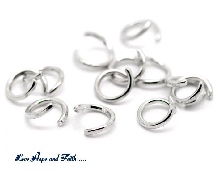 LOTTO 50 anellini aperti color argento scuro (7mm) (cod.00313)