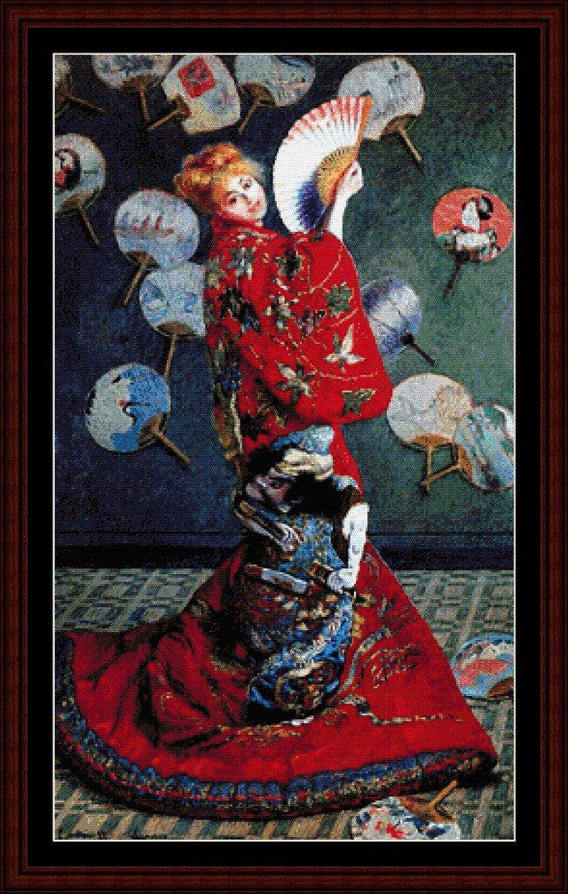 Claude Monet - La Japonaise - Schema Punto Croce Riproduzione Arte