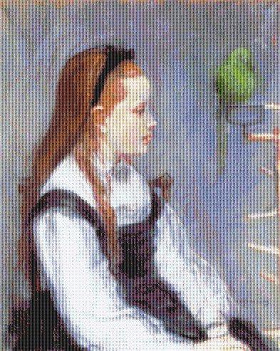 Morisot - La Ragazza con il Pappagallo - Schema Punto Croce Riproduzione Arte
