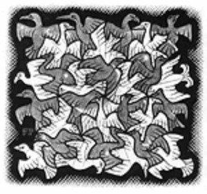Escher - Sole e Luna - Schema Punto Croce Riproduzione Arte