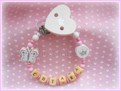 Catenella porta-ciuccio cuore con corona  modello farfalla e corona glitter