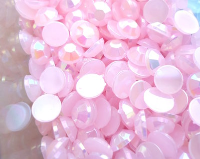 50pz - STRASS PLASTICA rosa chiaro mm 6