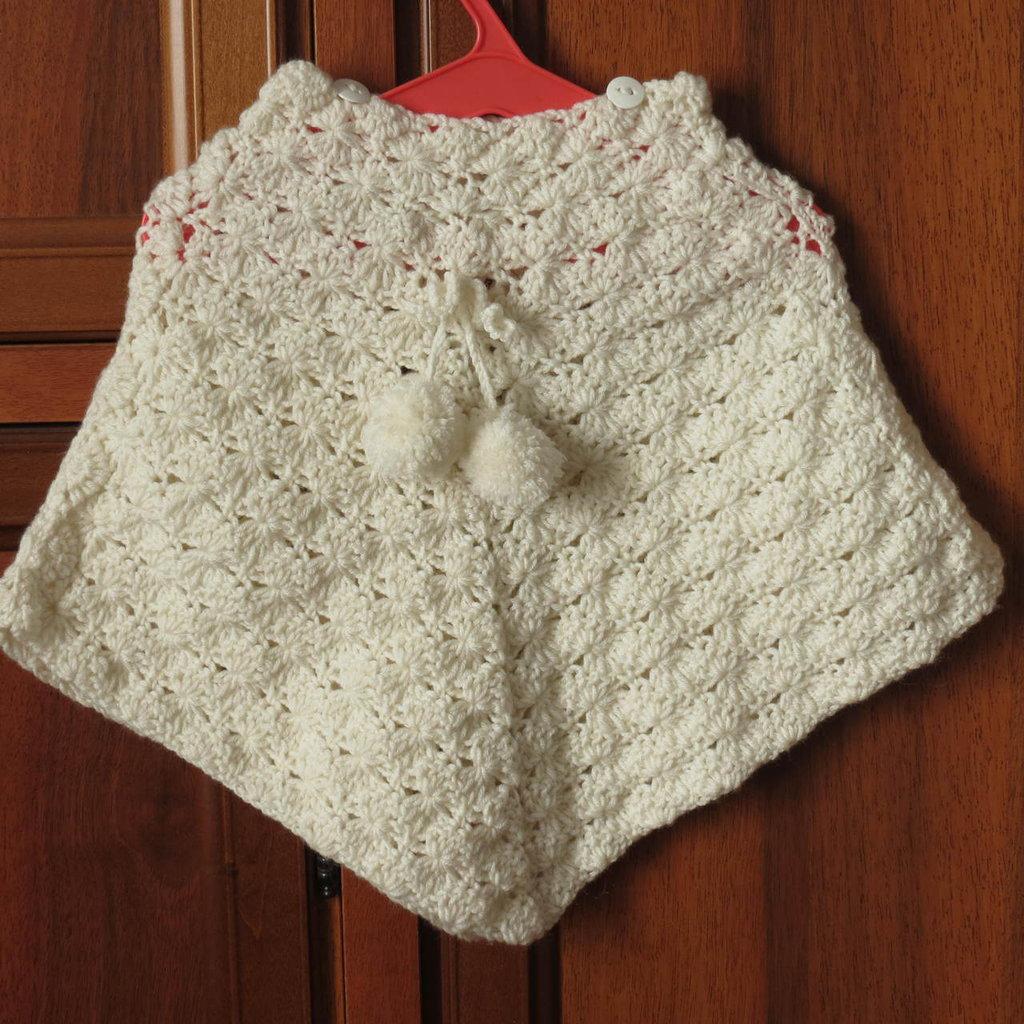 Poncho Mantellina Per Bimba Color Panna Bambini Abbigliamento