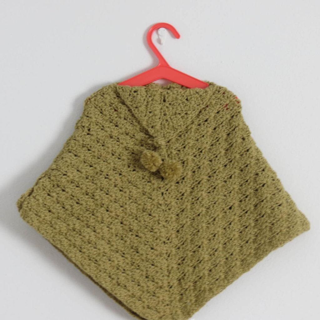 poncho mantella bimba color verde acido