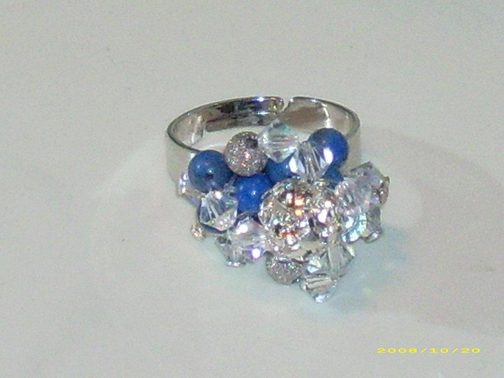 Anello anelli lapislazzuli swarovski crystal ab