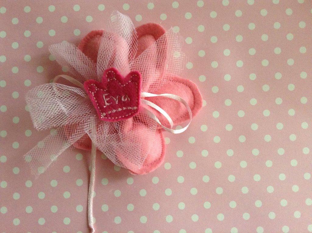 Bomboniera sacchetto porta confetti rosa a forma di fiore