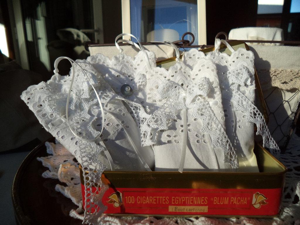 Profumatori fiori di lavanda shabby chic pizzo sangallo merletti di cotone