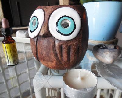 """Gufo brucia essenze in terracotta e ceramica """"Relax"""""""