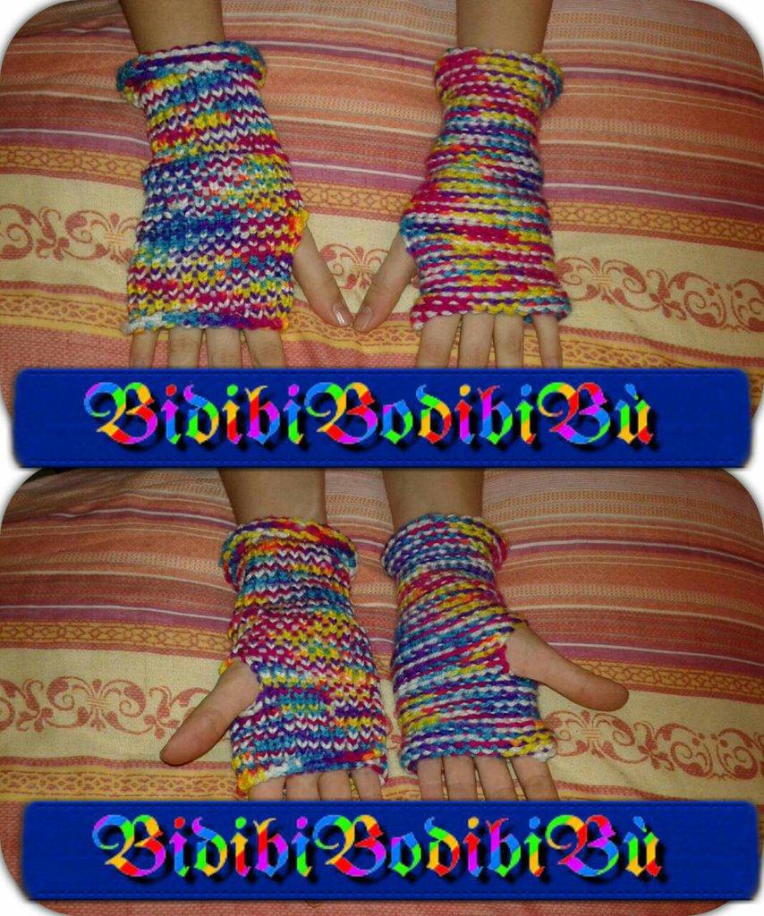 guanti senza dita double face manicotti colorati in lana fatti a mano