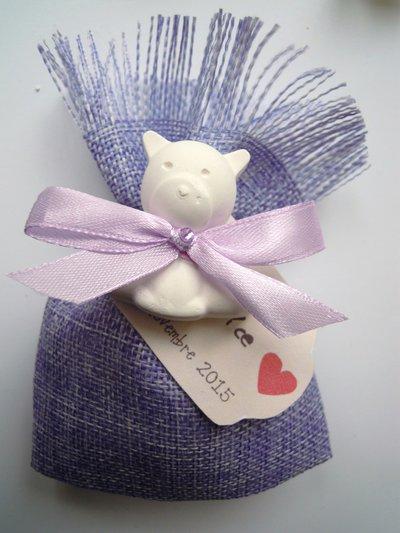 sacchettino in juta lilla con gessetto orsetto