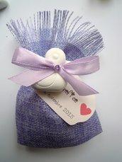sacchettino in juta lilla con gessetto paperella