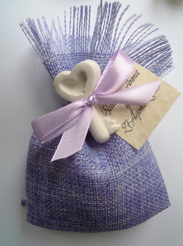 sacchettino in stoffa o juta lilla con gessetto chiave