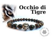 Bracciale uomo perla elastico OCCHIO DI TIGRE tiger testa leone eye stone braccialetto surf 8mm